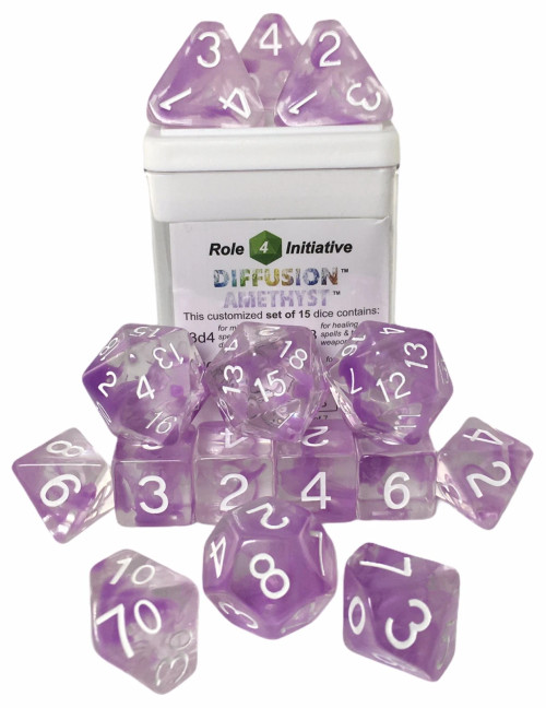 Amethyst Diffusion Dice (Set of 15)