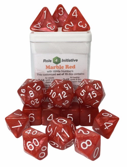 Red Marble Dice (Set of 15)