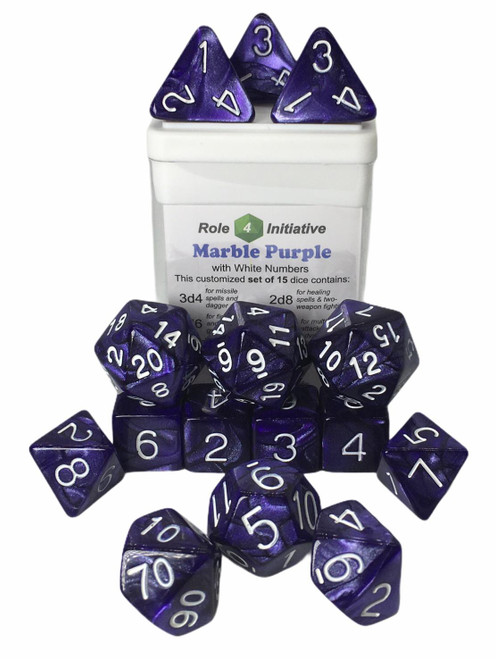 Purple Marble Dice (Set of 15) (Sold Out)