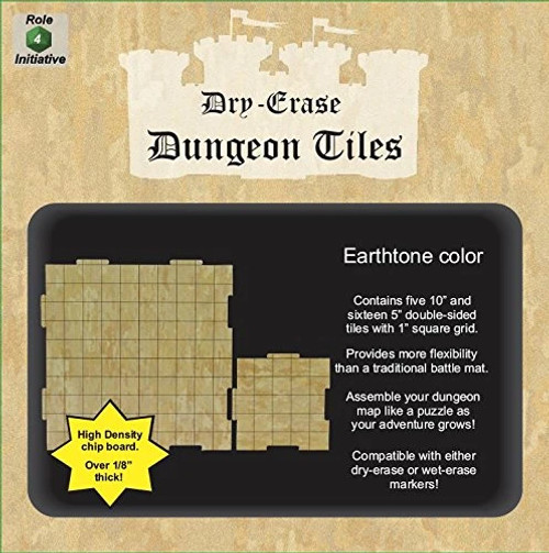 """Earthtone Dungeon Tiles: Combo Pack of x5 10"""" and x16 5"""" square tiles"""