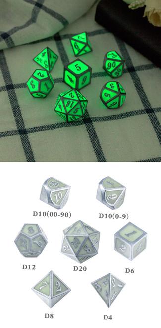 Green Glow-in-the-Dark Metal Dice Set