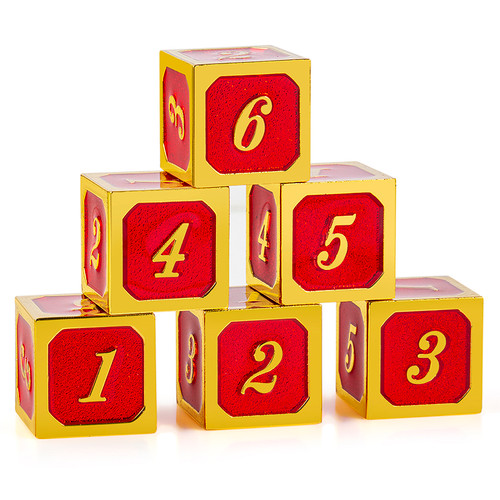 """Red & Gold d6 (six-sided, """"regular"""") set of 12 Metal Dice (6 shown)"""