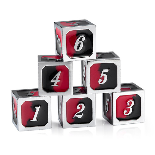 """Spider d6 (six-sided, """"regular"""") set of 12 Metal Dice (6 shown)"""