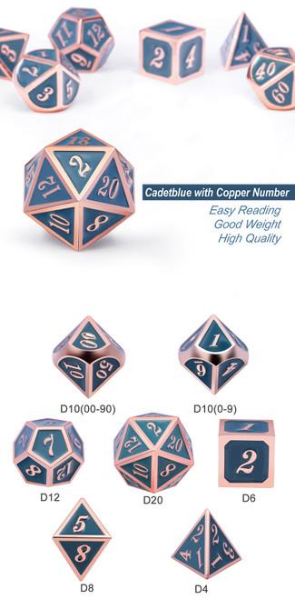 Cadet Blue & Copper Metal Dice Set