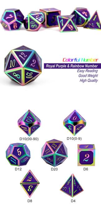 Royal Purple Iridescence Metal Dice Set