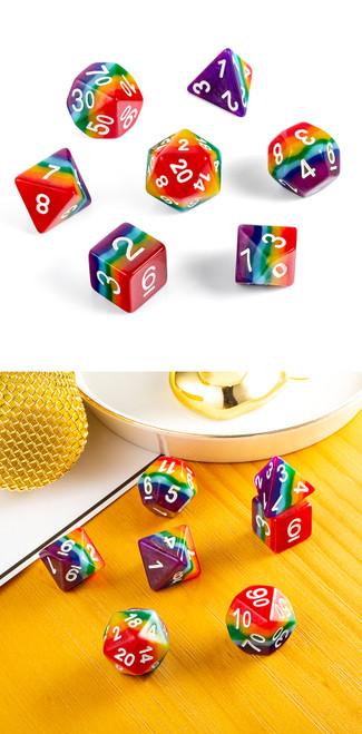 Rainbow Resin Polyhedral Dice Set