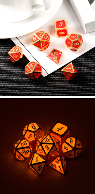 Red Glow Metal Dice Set