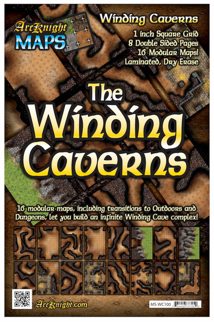 """Winding Caverns Battle Map—8-piece, 1""""square"""