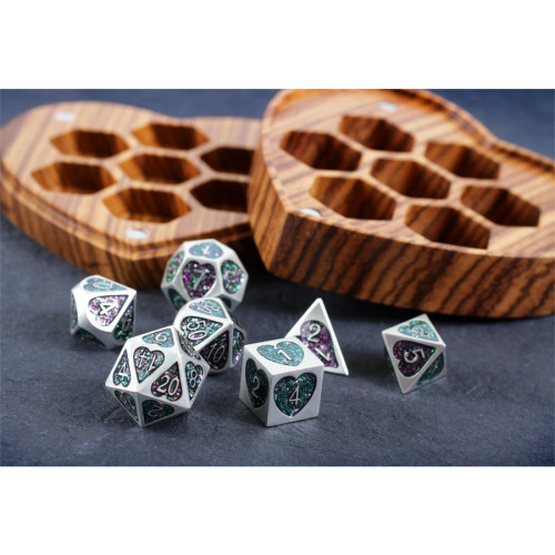 Forest Heart, Metal Dice Set with Display Case
