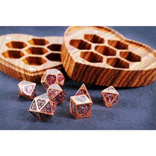 Heart Fate, Metal Dice Set with Display Case