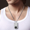 """Deluxe Pure Titanium Tag Custom Engraved Medical Alert Necklace, Emergency Medical ID Necklace, Medical Dog Tag- 24/28"""" - Style and Color"""