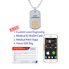 """Deluxe Pure Titanium Custom Engraved Medical Alert Necklace with Stainless Steel Chain, Medical ID Necklace, 24/28"""" - Style and Color"""