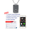 "Mini Black Custom Engraved Medical Alert Necklace, Emergency Medical ID Necklace-24/28"" - Style and Color"