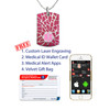 """Shard Custom Engraved Medical Alert Necklace with Stainless Steel Chain, Medical ID Necklace, 24/28"""" - Style and Color"""