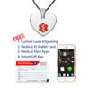 """Heart Tag Custom Engraved Medical Alert Necklace with 20"""" Leather Cord, Medical ID Necklace - Color"""