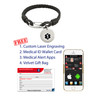 Medical Alert App and wallet card for Cords with Back Street Leather Tag