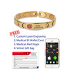 Medical Alert App and wallet card for Gold Solid Links with Elegante Tag