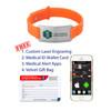 Sport Silicone Large Custom Engraved Medical Alert Bracelet Bands,  2-inch Tags - Band Color and Emblem Color
