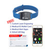 Sport Silicone Black Custom Engraved Medical Alert Bracelet Bands,  1.5-inch Tags - Band Color and Style