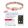 Hug & Kiss Rose Gold Custom Engraved Medical Alert Bracelets with Solid Links  - Size