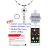 Luve Medical Alert Necklace Layard with Swivel Clasp & split ring, Heart Link Chain - Various Colors
