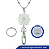"""Luve Custom Engraved Fashion Lanyard with 30"""" Station Bead Snake Chain and Badge Clasp  -Style"""