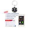Custom Engraved Medical Alert Keychain / ID Keychain - Style