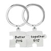 Puzzle Stainless Steel Personalized Necklace Pair with Ball Chain OR Custom Keychain Pair, Custom Engraved Name