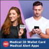 Medical Alert App and wallet card for Rect Link with Matte Steel Tag