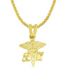 RN Gold Caduceus Charm Pendant Necklace - Style and Size