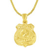 Police Badge Gold Charm Pendant Necklace - Style and Size