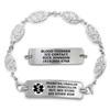 Divoti Custom Engraved Filigree Link Medical Alert Bracelet - Rect Classic Tag
