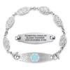Divoti Custom Engraved Filigree Link Medical Alert Bracelet - Elegant Olive Tag