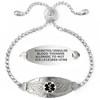 Angel Wing Custom Engraved Medical Alert Bracelets Adjustable Bling Bling Crystal Chain, Medical ID Bracelets - Color and Size