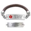 Divoti Custom Engraved Braided Leather Medical Alert Bracelet - Rect Classic Tag