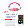 Medical Alert App and wallet card for Pink Lam Leather Cord with Carnation Tag