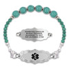 Divoti Custom Engraved Gem Beaded Medical Alert Bracelet -Victorian Art Deco Tag