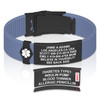 Sport ID Silicone Custom Engraved Medical ID Bracelets with Trim-to-Fit Adjustable Band -Style