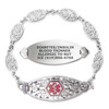 Blooming Cherry Blossom Custom Engraved Medical Alert Bracelets with Filigree Link Chain - Color and Size