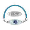 Divoti Custom Engraved Woven Blue Leather Medical Alert Bracelet - Jardin Tag