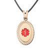Premier PVD Gold / Rose Gold  Custom Engraved Medical Alert NecklaceMedical Pendant Tag and 20 in Genuine Leather Cord
