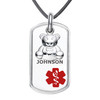 Teddy Bear Dangle Charm Custom Engraved Medical Alert Necklace, Emergency Medical ID Necklace. Medical Dog Tag w/Free Engraving -20 Genuine Leather Cord