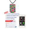 Camo Red  Medical Alert Necklace, Emergency Medical ID Necklace, Medical Dog Tag w/Free Engraving- 20 Genuine Leather Cord