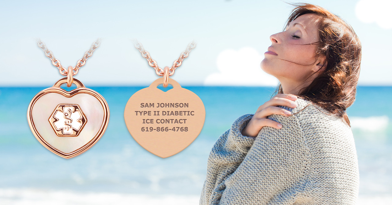 Beautiful medical alert ID necklaces for women