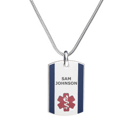 "Urban Tag Medical Alert Necklace, Emergency Medical ID Necklace, Medical Dog Tag- 24/28"" - Style and Color"