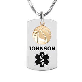 Sport Dangle Charm Custom Engraved Medical Alert Necklaces, Medical ID Necklaces, Medical Dog Tag and 24/28 Inches - Colo