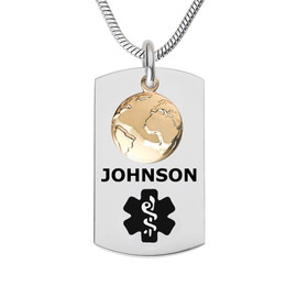 Globe Dangle Charm Custom Engraved Medical Alert Necklaces, Medical ID Necklaces, Medical Dog Tag and 24/28 Inches - Color