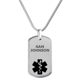 "Deluxe Pure Titanium Tag Custom Engraved Medical Alert Necklace, Emergency Medical ID Necklace, Medical Dog Tag- 24/28"" - Style and Color"