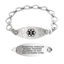 Divoti Custom Engraved Open Heart Link Medical Alert Bracelet - Filigree Tag