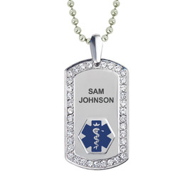 "Supreme Pure Titanium Custom Engraved Medical Alert Necklaces with Titanium Chain,  Medical Dog Tag- 24/28"" - Style and Color"